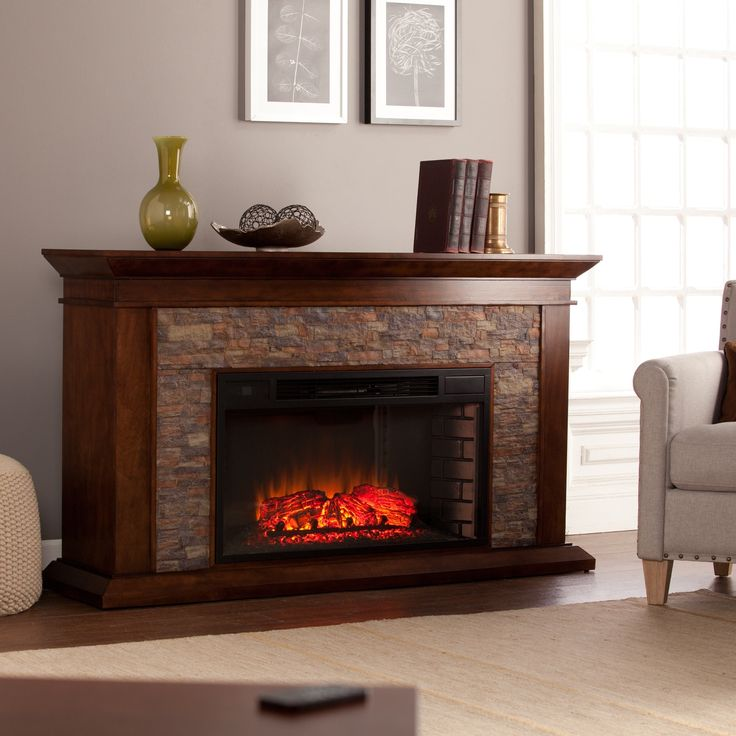 Harper Blvd Utley 60-inch Simulated Stone Electric Fireplace (OS3209EF), Brown (Glass)