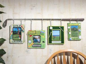 Dad's Golfing Frames | FaveCrafts.com  Use vintage wooden golf club I have and suspend pictures of Ava with golf ball and holding the DAD letters for Father's Day gift. Add paint can with grass and score card and gift card for 2 rounds of golf plus cart. For dessert add golf ball cake pops.