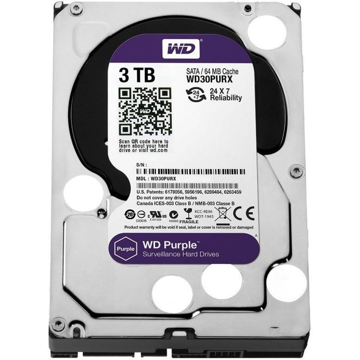 WD Purple 3TB Surveillance Hard Disk Drive - 5400 RPM Class SATA 6 Gb/s 64MB Cache 3.5 Inch