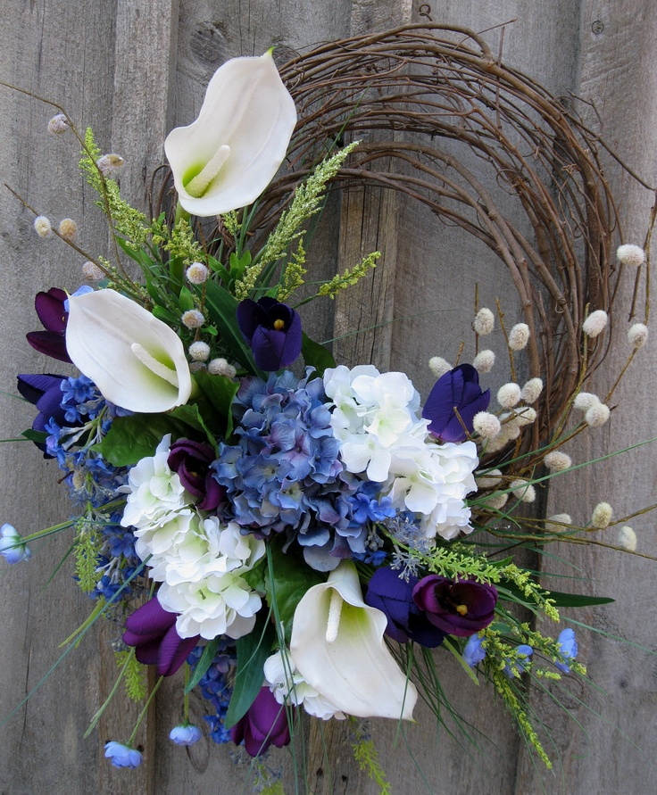 Floral Wreath, Easter, Spring Wreath, Summer, Wedding Decor, Calla Lily. $139.00, via Etsy.