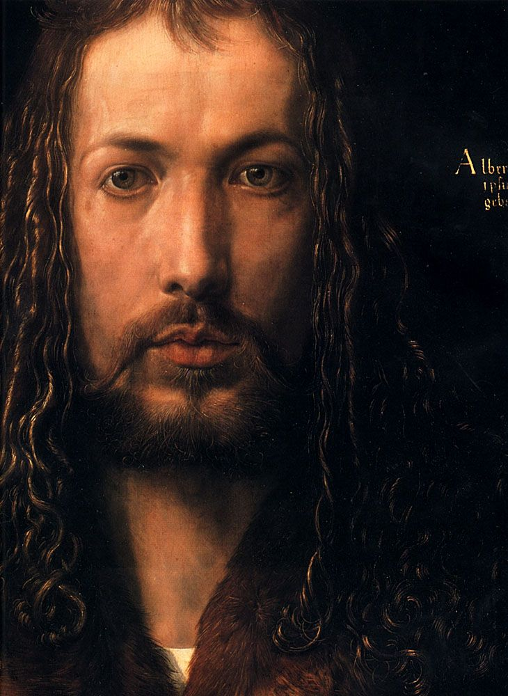 Albrecht Dürer (1471-1528), Self-Portrait (DETAIL), 1500. Oil on lime panel - Alte Pinakothek, Munich.