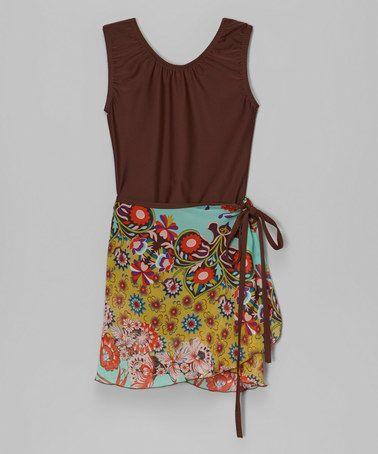 Look what I found on #zulily! Brown Leotard & Blue Floral Skirt - Girls #zulilyfinds