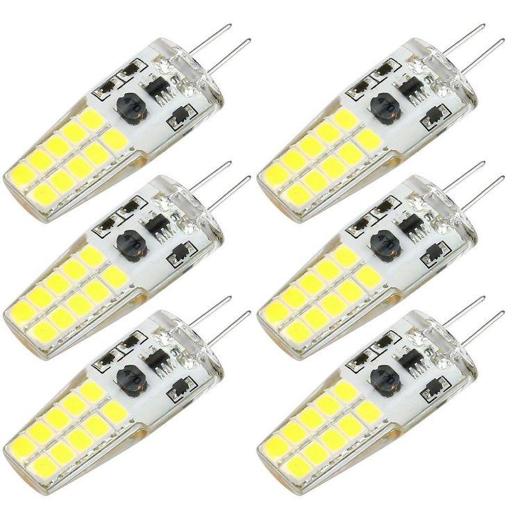 G4 LED Bulb Kakanuo 12V Daylight White 6000K 3 Watt 30W Equivalent 300Lumen Bi-pin Base Non Dimmable 20x2835 LEDs AC/DC10-20V(Pack of 6)