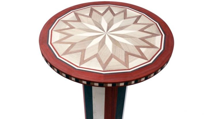 Small Table Wooden small table, round shape, handcrafted marquetry with various wood essences.