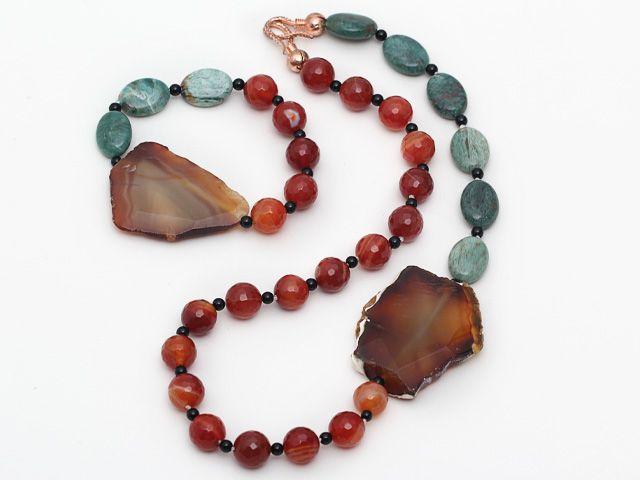 Green Dragon Blood Stone And Faceted Carnelian And Agate ...