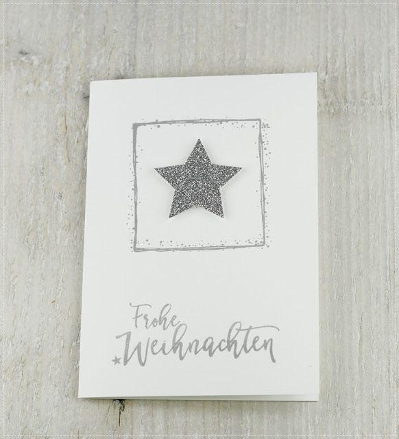 Silber-Grau... Das sind die Farben der heutigen, ganz schlichten Karte. Ich liebe die Schrift des Stempels und das tolle Viereck um de...