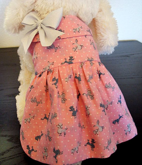 Pink Poodle Dog Dress with Bow and Peter Pan Collar - Pink Dog Dress - Pet Clothes
