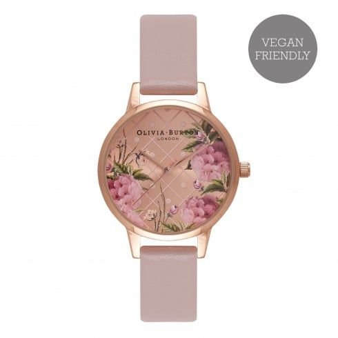 Vegan Friendly Midi Dial Floral Rose Sand & Rose Gold - from Olivia Burton UK