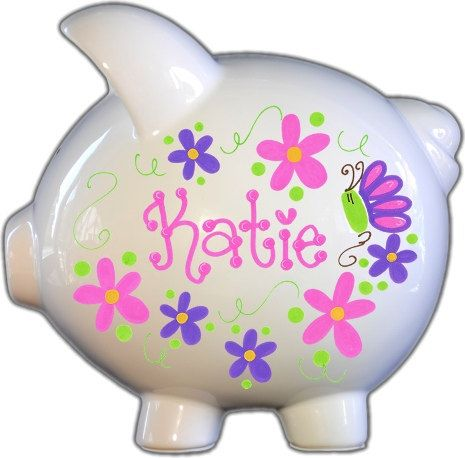Hand-painted Ceramic Large Piggy Bank with by TheSpoiledSprout