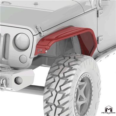 Jeep Wrangler JK Overland Tube Fenders offer a choice for the JK Wrangler Owner. Providing quality craftsmanship and the Metalcloak signature look without the extreme strength or clearance found in the Overlines.