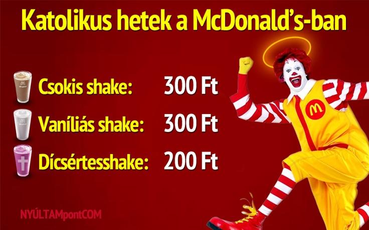 Katolikus hetek van a McDonald's-ben