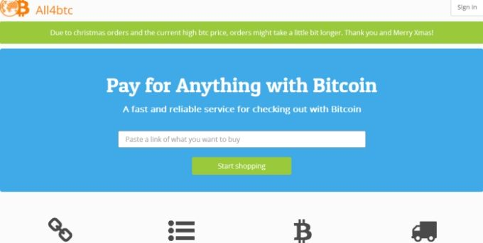 Buy anything form anywhere in the world and pay for it with Bitcoins http://cryptocoinshops.net/index.php/listing/all4btc/