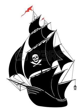 A silhouette of a old sail pirate ship vector illustration  Stock Vector