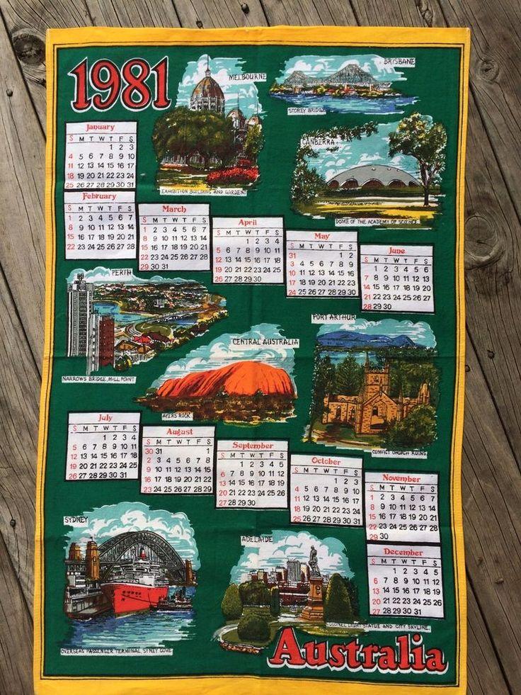 Vintage Tea Towel: Year 1981 Calendar    AUSTRALIA   Pure Cotton