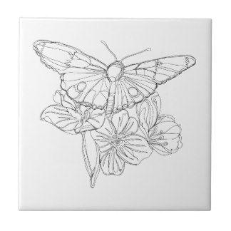 Dibujo lineal continuo de las mariposas y de las azulejo cuadrado pequeño