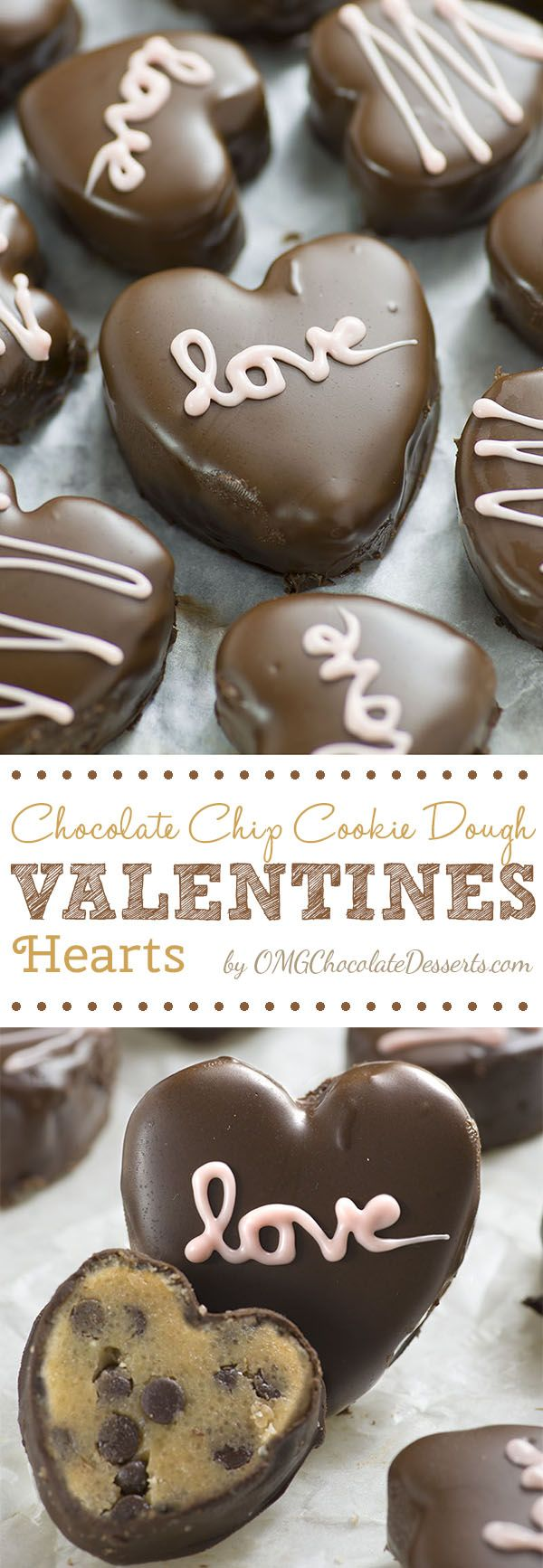 Chocolate chip Cookie Dough Valentine's Hearts.