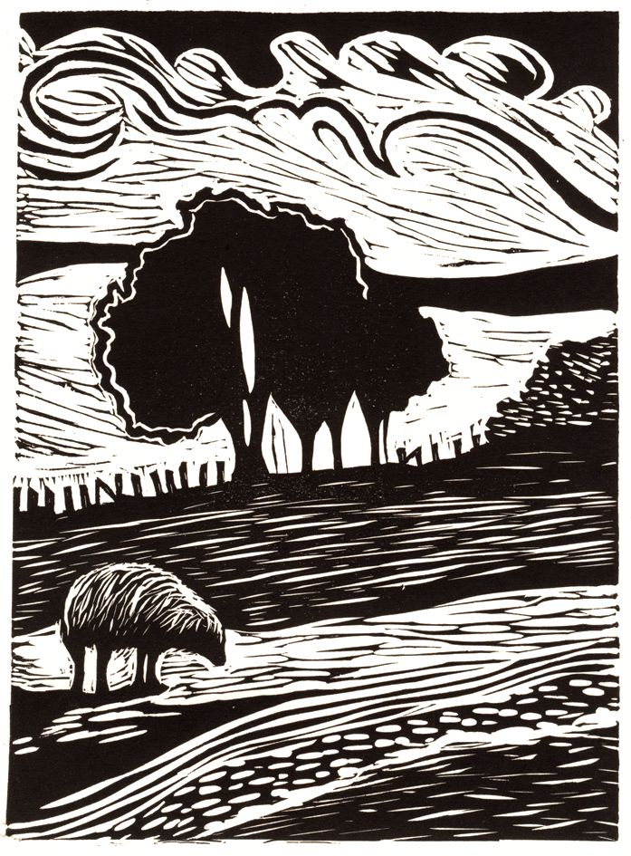 Welsh landscape relief print by Lorraine Tolmie. Linocut.  www.lorrainetolmie.co.uk