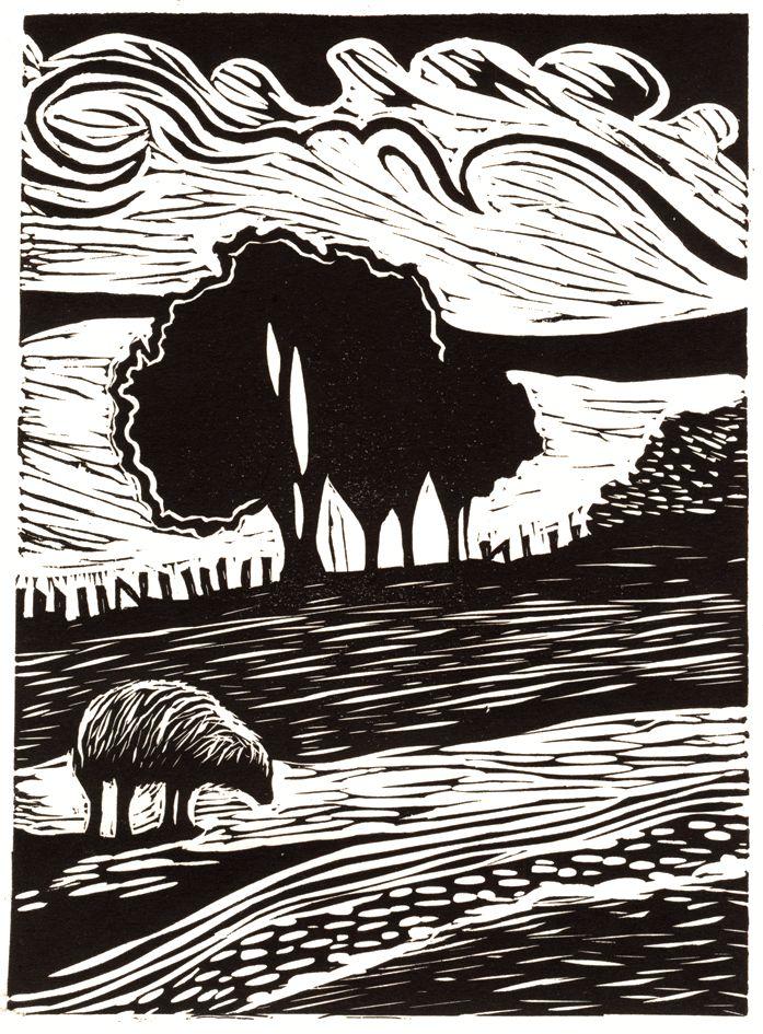 Welsh landscape relief print by Lorraine Tolmie. Linocut.  www.lorrainetolmie.co.uk