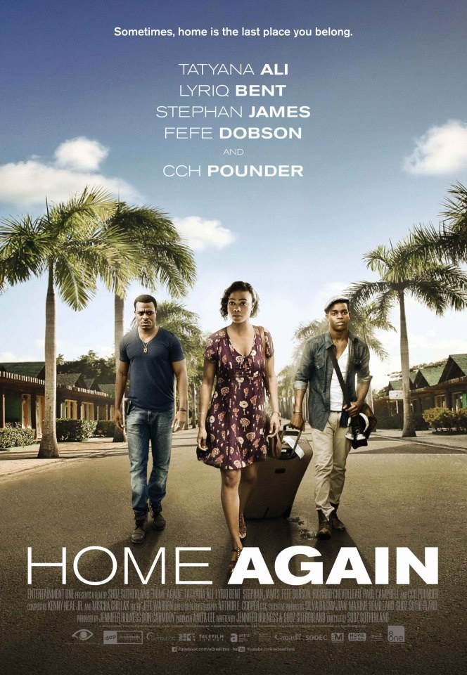 'Home Again' tells the story of 3 young people deported home to Jamaica after being raised abroad since infancy. Once landed in Kingston and without a compass of any kind, each of the characters embarks on a journey that pushes their endurance beyond measure and forces them to discover who they truly are.  Starring Tatyana Ali, Lyriq Bent, Stephan James, C.C.H. Pounder, and Fefe Dobson. Click to watch the trailer.