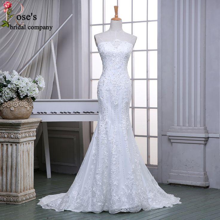 Wedding Dress Online Shop China Boda Strapless Lace Mermaid White Wedding Dresses Chapel Train Elegant Beaded Bridal Dresses
