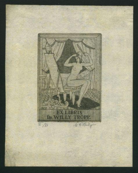 Philipp, Martin E. (1887-1978): Ex Libris Dr. Willy Tropp. Akt, vor Spiegel mit Papagei sitzend.  [searchforthistitle] 1919. 117 x 82 mm, Radierung