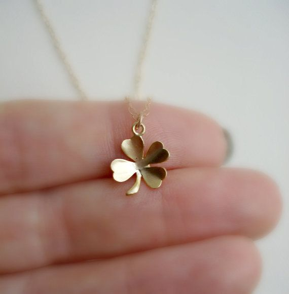 Clover Necklace In Gold, Lucky Charm, Irish Luck, Shamrock Necklace, Irish Everyday Jewelry, Modern, Minimalist on Etsy, $20.00