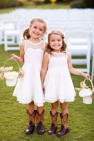 flower girl cowboy boots rustic wedding lace