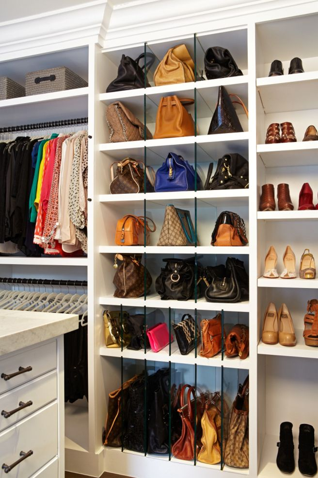 "Glass dividers, adjustable cubbies, and ""purse pillows"" keep handbags vertical. To the right, custom L-shaped shelves maximize a corner devo..."