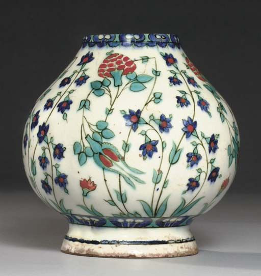 AN IZNIK POTTERY BOTTLE BODY OTTOMAN TURKEY, CIRCA 1565 http://www.christies.com/lotfinder/lot/an-iznik-pottery-bottle-body-ottoman-turkey-4892568-details.aspx?from=salesummarypos=213intObjectID=4892568sid=0251cf9a-7363-452b-809c-8609b76a9733