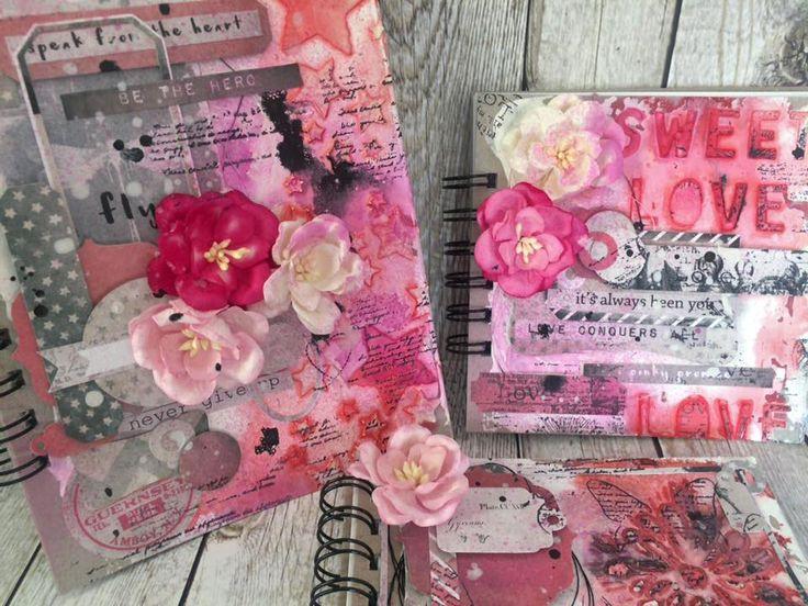 Mixed media  #crazycatcz #mixedmedia #pink #růžová #deník #blok #notebook
