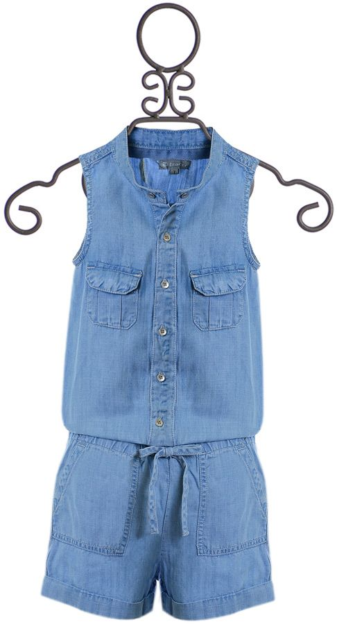 Tractr Denim Romper for Girls (7 & 10)