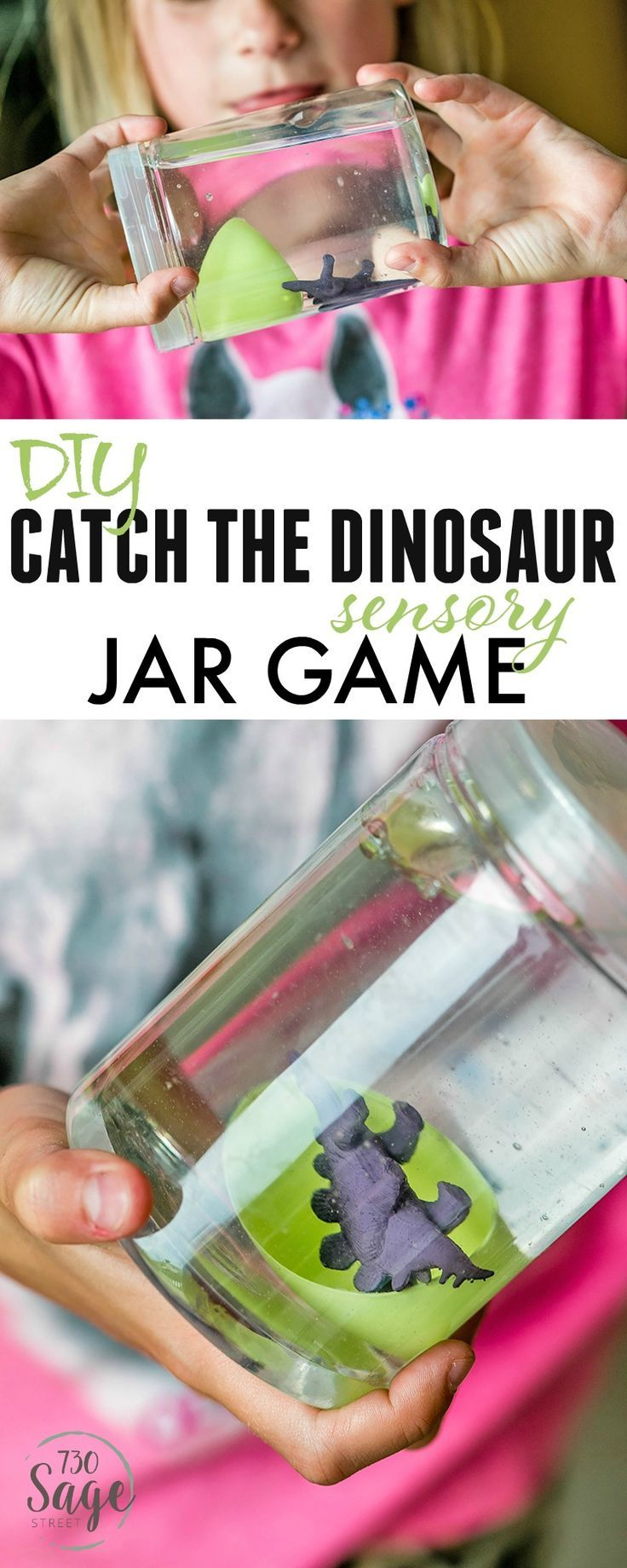 Dinosaur Preschool Crafts help engage imaginations and keep kids busy. This DIY Catch The Dinosaur Sensory Jar Game is easy to make and is super fun! #ad https://www.730sagestreet.com/dinosaur-preschool-crafts-diy-catch-the-dinosaur-sensory-bottle-game/