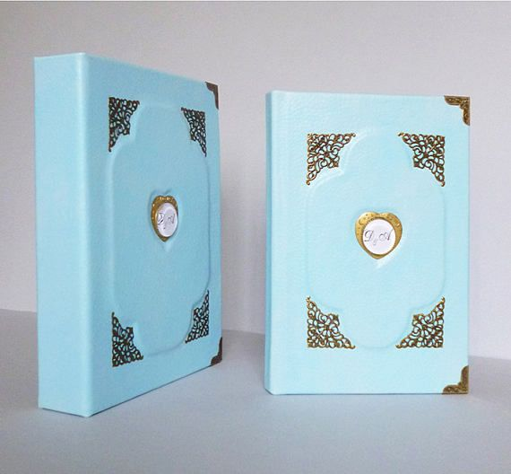 Wedding Photo Album Guest Book Set Scrapbook Personalized  #weddingalbum, #personalizedalbum, #guestbook, #weddingset, #weddinggift, #leather, #photoalbum, #monogrammedgift, #customalbum, #tealjournal