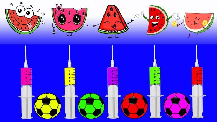 Learn Colors Soccer Ball Injection Watermelon Fidget Spinner JOHNY JOHNY Yes Papa FINGER FAMILY Song