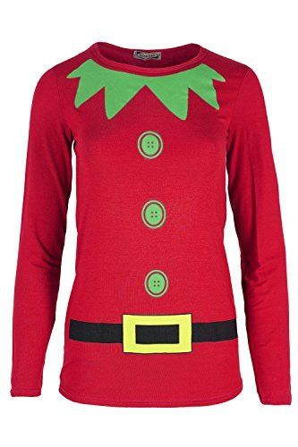 Womens Christmas T Shirt Ladies Xmas Elf Costume Jersey Long Sleeve Dress Top Plus Size (UK 20/22) Red Oops Outlet http://www.amazon.co.uk/dp/B016Y4PAE6/ref=cm_sw_r_pi_dp_3fuowb15K7QMP