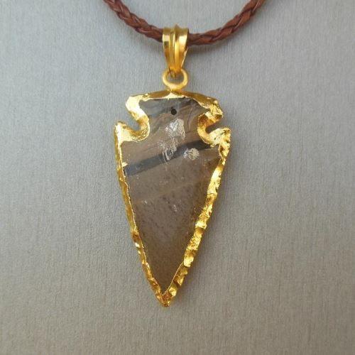 Arrowhead jasper gold plated gemstone pendant jewelry $12.50
