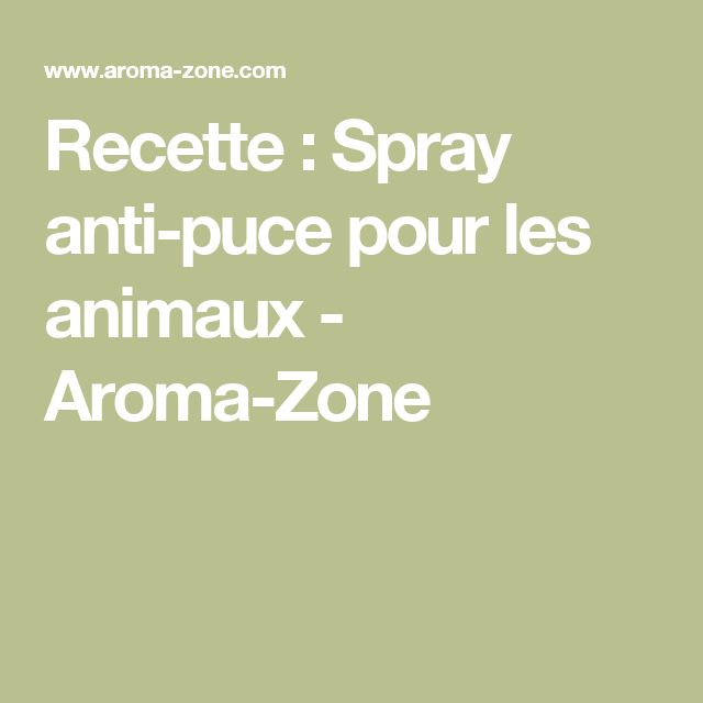 Recette : Spray anti-puce pour les animaux - Aroma-Zone