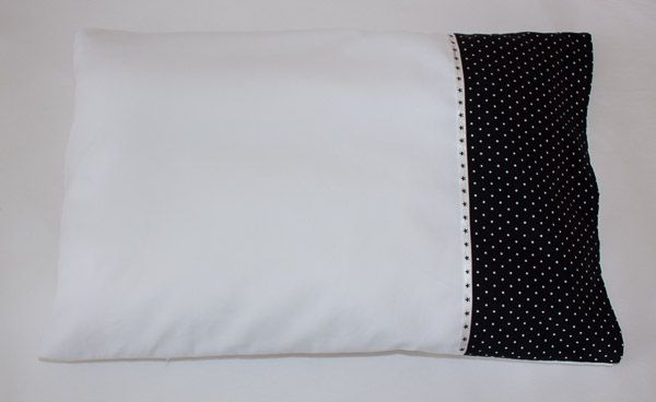 Black and white baby pillowcase with star detail by Erie's Boutique