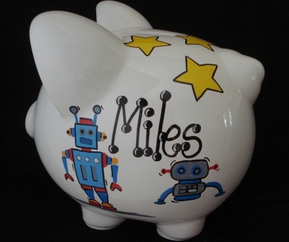 Personalized Robot Piggy Bank by Dizigns on Etsy, $23.00