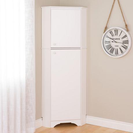 Prepac Elite White Tall 2-Door Corner Storage Cabinet | Walmart Canada