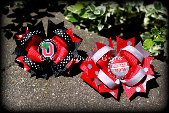 Set of 2 Beautiful medium Ohio State Boutique hair bows