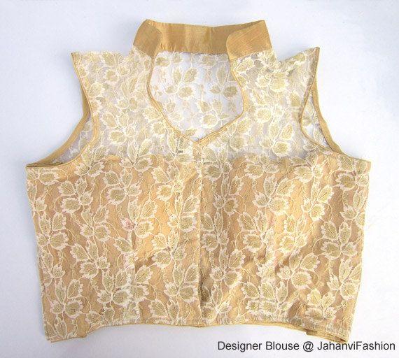 bb16f10d86975 Readymade Golden net embroidery blouse with collar - All Sizes - Sari  Blouse - Saree Top - Sari Top - For …