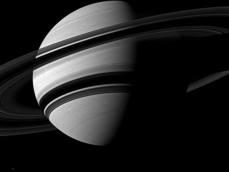 NASA - Angling Saturn: The Cassini spacecraft takes an angled view toward Saturn, showing the southern reaches of the planet with the rings on a dramatic diagonal.
