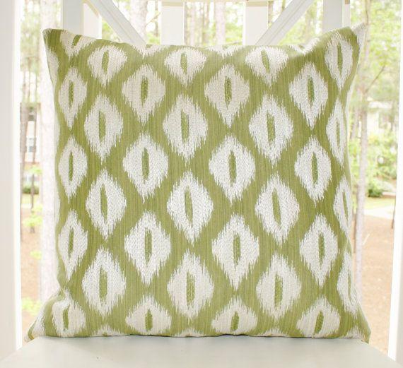 Green Ikat Throw Pillow : Decorative Designer Green Pillow - Sage Green Ikat Pillow - Green Ivory Ikat Textured Pillow ...