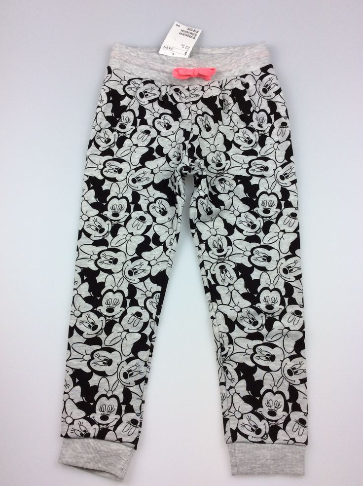 H&M, Minnie Mouse print tracksuit pants, brand new with tags (BNWT), girl's size 5, $12 (RRP $24.99) #kidsfashion #minniemouse #girlsfashion #hm