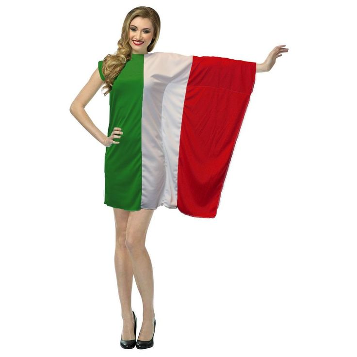 Ladies Supporters Dress Italy Flag Fancy Dress St Francis Day Italian Costume