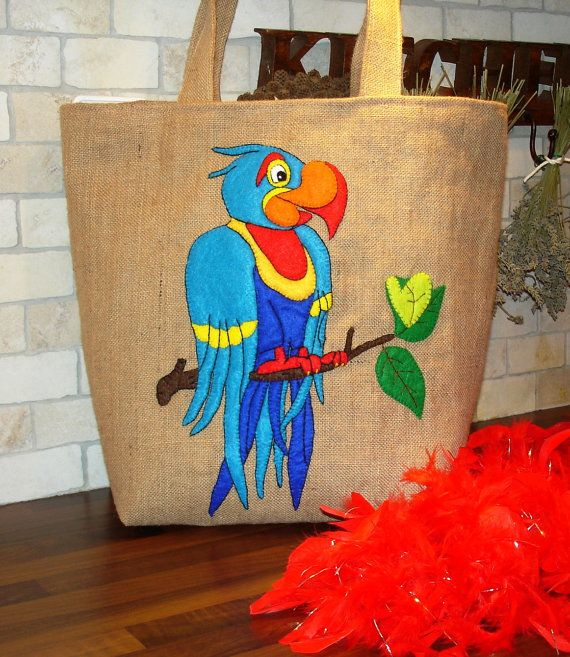 Embroidered /applique/handmade/ Jute Tote bag/ blue by Apopsis