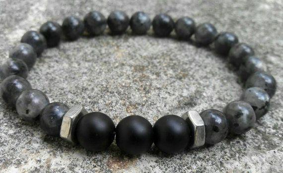 Larvikite bracelet, Hex nuts bracelet, Matte onyx, 8mm men's stretch bracelet, Beaded style bracelet, Gift for him, womens bracelet on Etsy