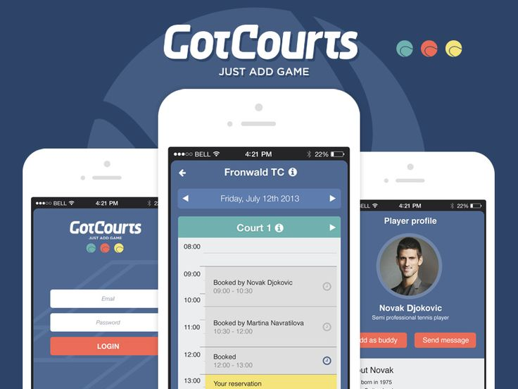 Mobile app for tennis players