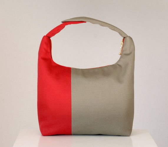 **NEW DESIGN** Check out our new colorblock lunch bag!! With 1/3 red and 2/3 taupe, the assymmetrical colorblock design gives it a modern look. The